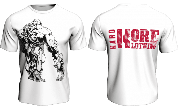 Hardkore Klothing Anth Bailes White Daddy and Daughter Themed Bodybuilding T-Shirt