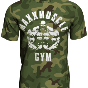 Iconic MaxxMuscle Gym Green Camo Bodybuilding T-Shirt Anth Bailes